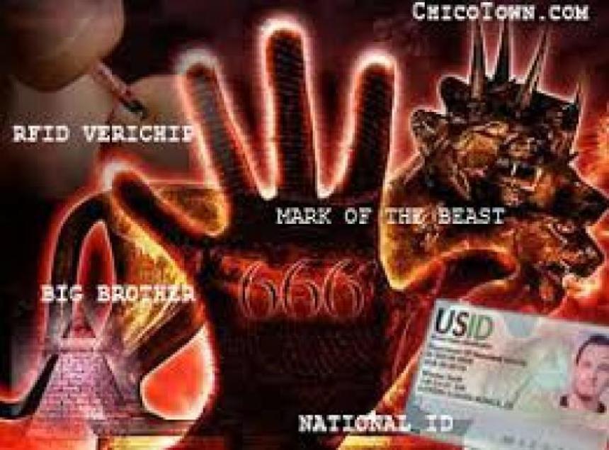 666 märket på handen och på pannan.