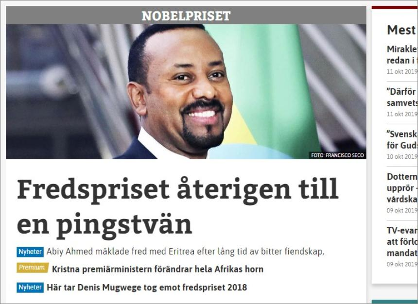 Nobel Peace Prize 2019 to Abiy Ahmed.