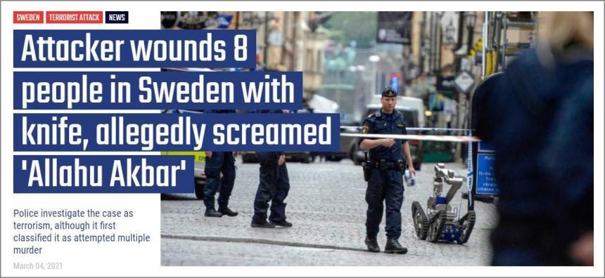 Våldsmannen ropade Allahu akbar när han knivhögg människor i Vetlanda.