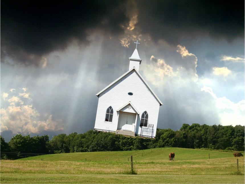 The church will be caught up in the clouds to meet Jesus in the air.