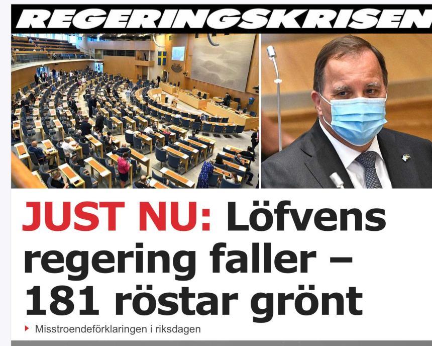 Ett förvandlat Sverige - Regeringen fälld