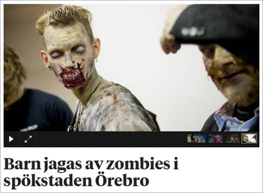 Children chased by zombies in the ghost town of Orebro